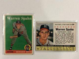 1958 Topps  270 Warren Spahn  1961 Post Cereal Box Cut Out  101 Warren Spahn