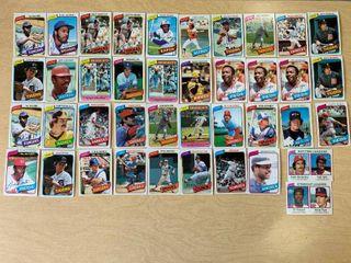 lot of 40 1980 Topps Baseball Cards Includes Nolan Ryan Keith Hernandez  Joe Morgan  Reggie Jackson  Johnny Bench  Jack Morris  Dave Parker   More