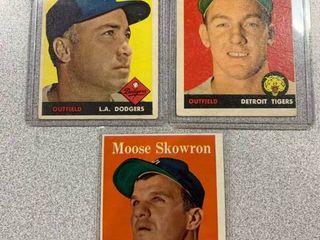 Three Cards 1958 Topps  88 Duke Snyder  70 Al Kaline  240 Bill  Moose  Skowron