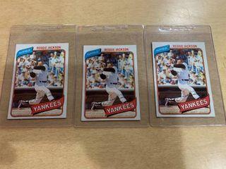 lot of 3 1980 Topps  600 Reggie Jackson Cards