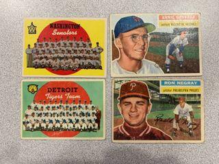 4 Cards 1956 Topps  7 Ron Negray  51 Ernie Oravetz  1959 Topps  329 Tigers Checklist  397 Senators Checklist