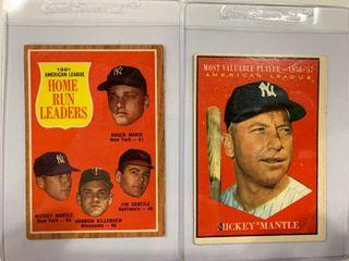 2 Mickey Mantle Cards 1961 Topps  475 Al MVP  1962 Topps  53 Al Home Run leaders  Mantle Maris Killebrew