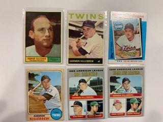 6 Card Harmon Killebrew lot 1970 Topps  64  Reggie Jackson   66  w  Reggie Jackson  1964 Topps  177  1968 Topps  220  1961 Topps  80  1982 K Mart  15