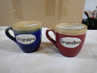 Pair of Timbleweed pottery grandparents mugs