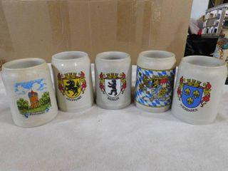 Set of 5 stein mugs  German cities
