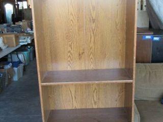 Wooden Shelf w  lower sliding storage doors 24  W x 73  H x 10  D