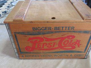 Pepsi Cola wooden box w  lid 17 5  W x 11 5  H x 12