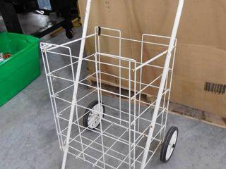 Wheeled shopping utility cart  white