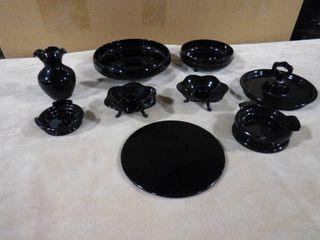 set of black glassware  9 piece set