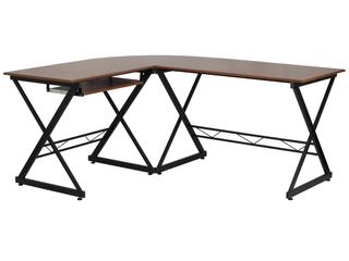 Flash Furniture Teakwood laminate l Shape Computer Desk w  Pull Out Keyboard Tray