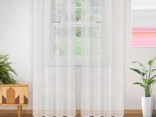 Superior lightweight Delicate Flower Sheer Curtain Panels   Set of 2