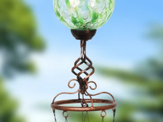 Exhart Solar Powered Pearlized Honeycomb Ball Wind Chime