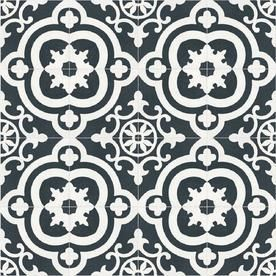 DEllA TORRE Cementina Black and White Ceramic Floor and Wall Tile  Common  8 in x 8 in  Actual  7 87 in x 7 87 in