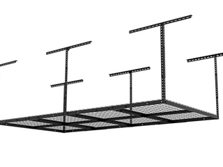 Fleximounts 4 X8  Height Adjustable Black Ceiling Storage Rack GR48B