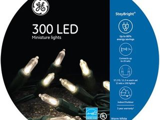 GE StayBright 300 Count 74 5 ft Constant Warm White Mini lED Plug In Christmas String lights ENERGY STAR