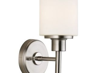 Design House 556183 Aubrey Transitional 1 light Indoor Wall light Dimmable Frosted Glass for Hallway Foyer Bathroom  Satin Nickel