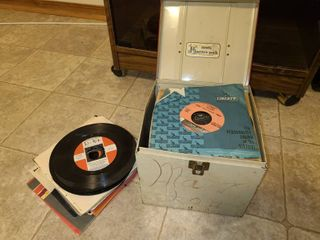 Assorted 45s with Storage Case