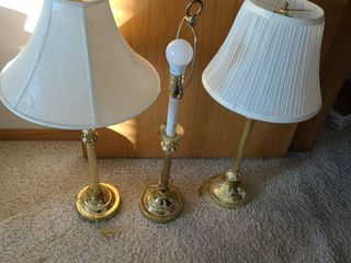 3 Brass Table lamps  one has no lamp shade