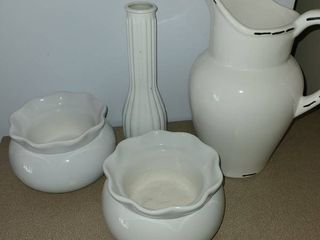 Home Decor  White Vase  pitcher  and 2 other dishes