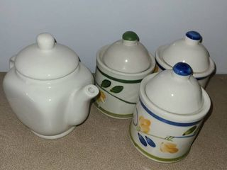 3 small storage jars with lid and a creamer