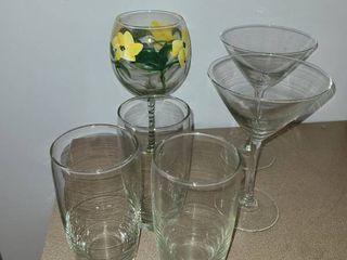 Various Glasses  3 drinking glasses  wine glass and 2 Martini Glasses