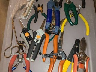 Assorted wire cutters and tools
