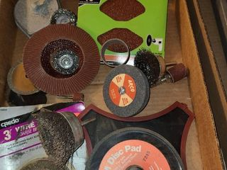 Wire brushes  sanding discs and plumb bob