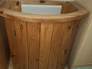 Wood Cabinet No Top Curved Front 28 x 25 x 15 in