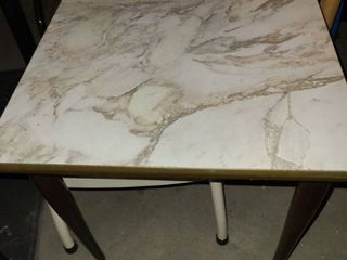 Faux marble top table 15 by 15