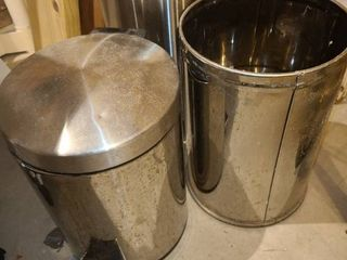 3 STAINlESS STEElE TRASH CANS   The tallest is 14