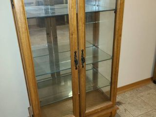 Wood Curio Cabinet with Glass Shelves and light 43 x 24 x 12 in