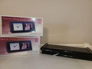 Mini Floating Shelf  and 2 Quartz Photo Desk Clock