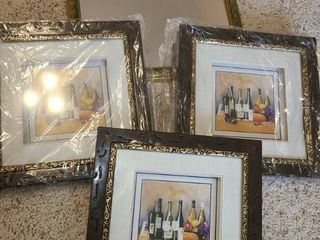 3 Framed Art and a Mirror
