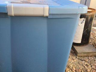 Blue Storage Tote filled with Aquarium Items
