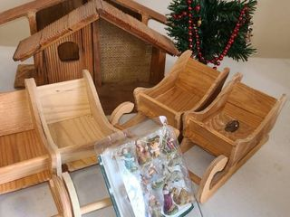 2 Sleighs Need painted and 2 Nativity scenes