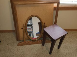EXTRA lARGE Picture Frame and Mirror and small table  Frame is 29 x 29 and mirror is 20  and table 15 x 10