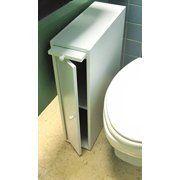 24  Wood Slim Bathroom Cabinet Stand   White