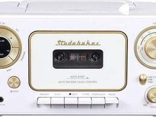 Studebaker SB2135WG Portable CD Player with AM FM Radio   Cassette Player Recorder  White   Gold