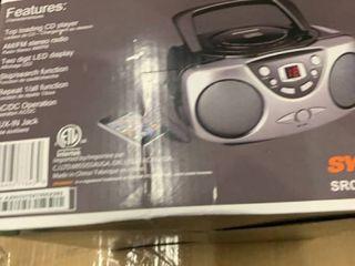 Sylvania SRCD243M Portable CD Boom Box with AM FM Radio   Black