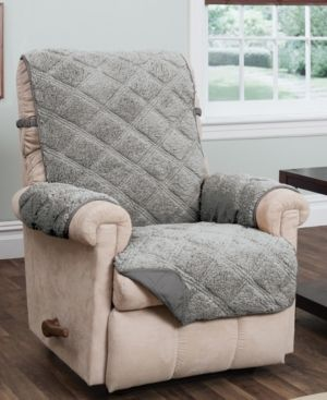 Innovative Textile Solutions 1 Piece Hudson Sherpa Waterproof Recliner Furniture Cover  Grey