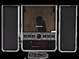 Craig Vertical CD Shelf System with AM FM Stereo Radio and Dual Alarm Clock  3 Piece Black  CM427