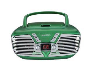 Sylvania SRCD211 Portable CD Boombox with AM FM Radio  Retro Style  Green