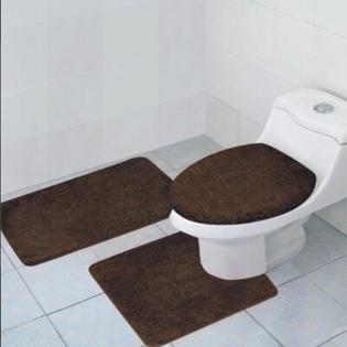 Hailey 3 Piece Bathroom Rug Set  Bath Mat  Contour Rug  Toilet Seat lid Cover  Chocolate