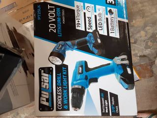 Pulsar 20V Cordless 1 3Ah lithium Ion Drill Driver   Work light Kit  Featuring A 19 1 Torque Setting Drill  an Adjustable   Freestanding lED Work light  Kit Includes Battery   Charger  PT25lK
