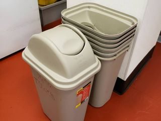 lot of trash cans with lids