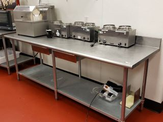 Duke 96x30 stainless table with backslash and 2 drawers
