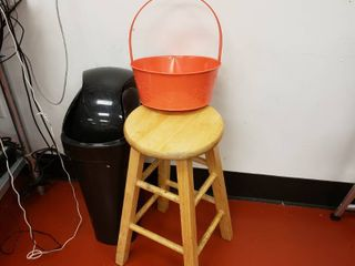stool and trash can