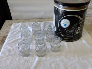 jelly jars and Steelers tin can