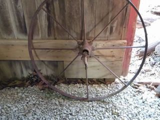 vintage steel spoke wheel