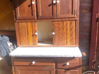 Vintage Cabinet With Enamel Sliding Counter